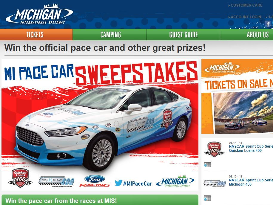 Michigan Pace Car Sweepstakes