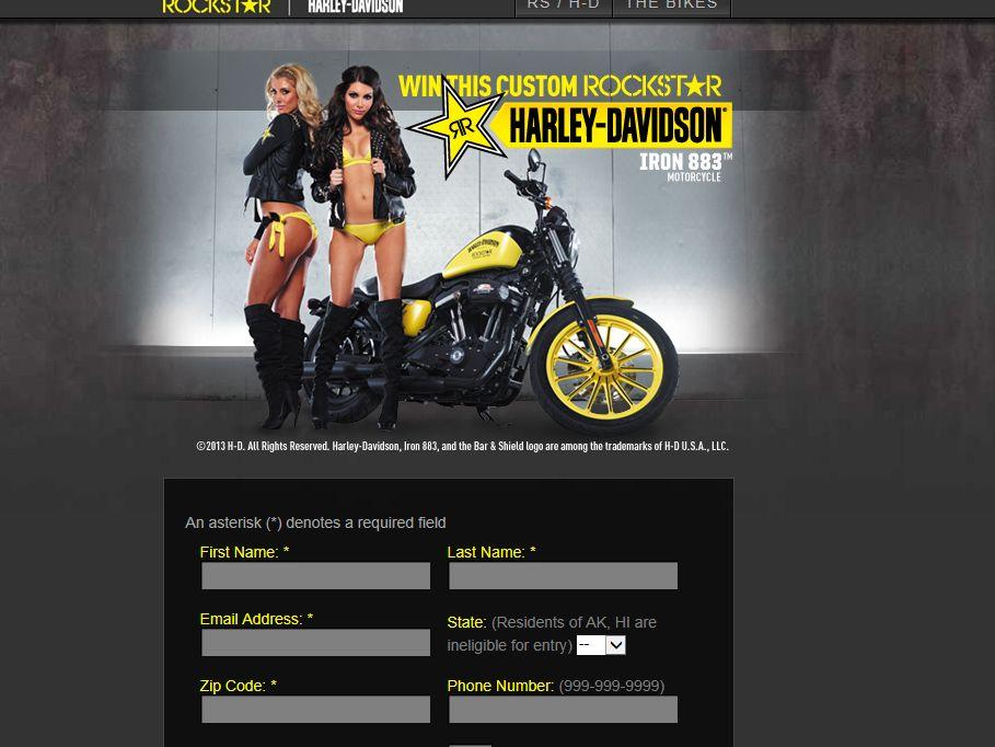 Rockstar Harley-Davidson Iron 883 Sweepstakes