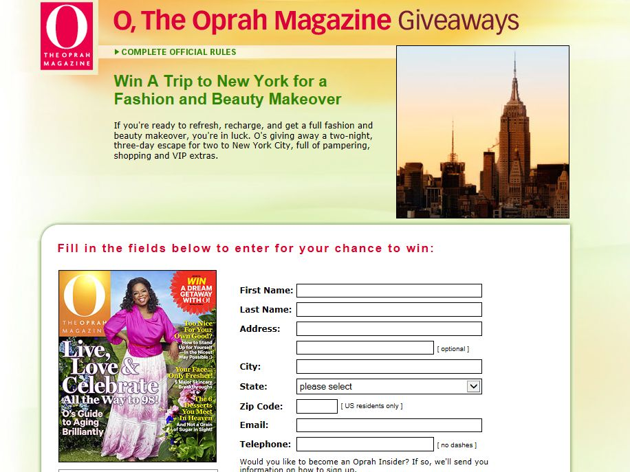 Dream Getaway with O Sweepstakes