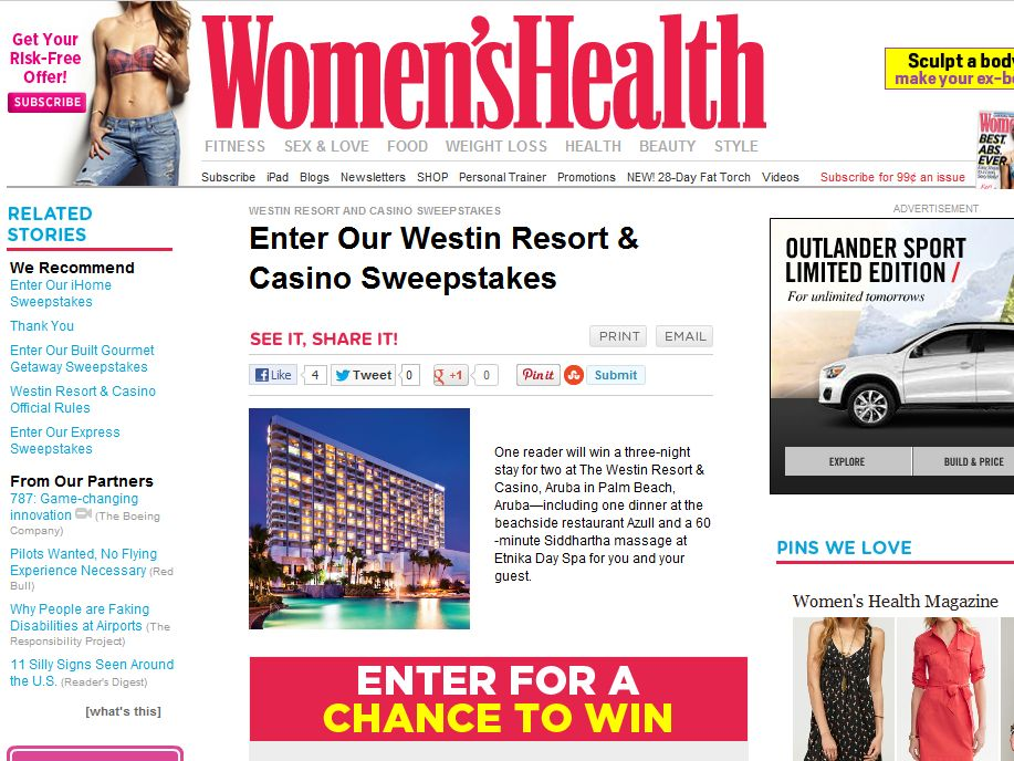 Westin Resort & Casino Sweepstakes