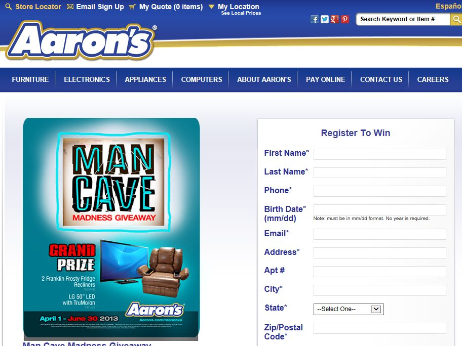 Aaron's Man Cave Madness Giveaway Sweepstakes