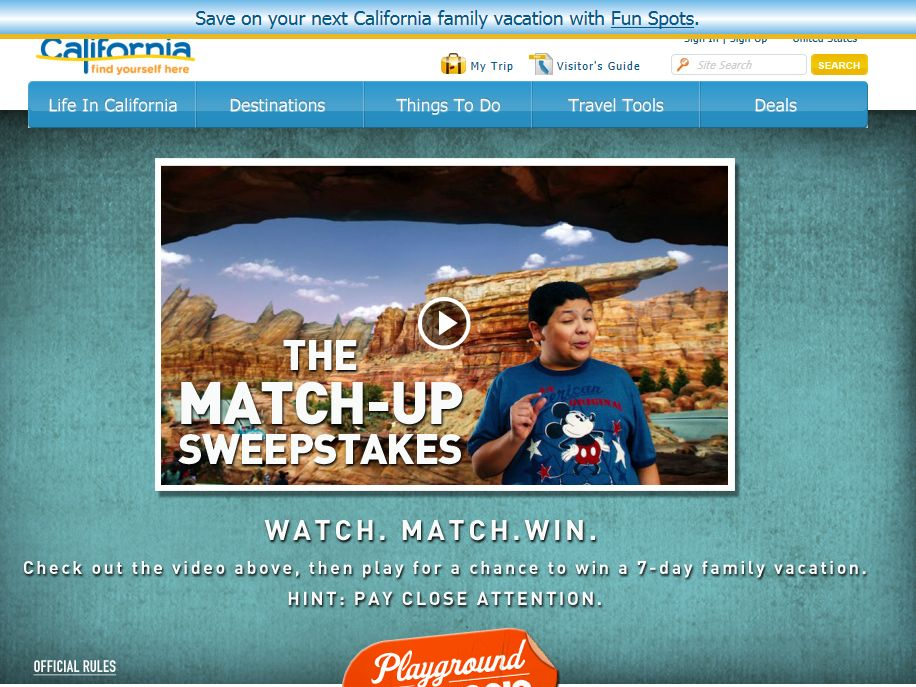 Visit California Match-Up Sweepstakes