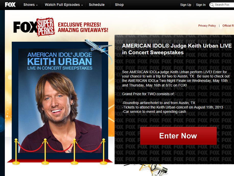 AMERICAN IDOL Judge Keith Urban LIVE in Concert Sweepstakes