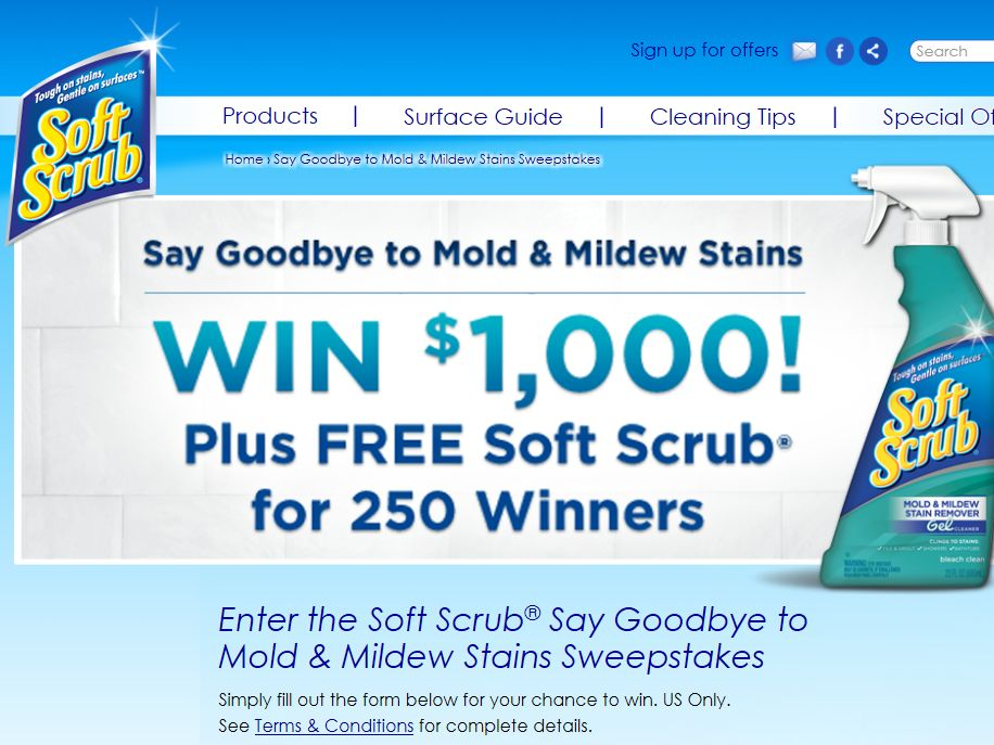 Soft Scrub Say Goodbye to Mold & Mildew Stains Sweepstakes