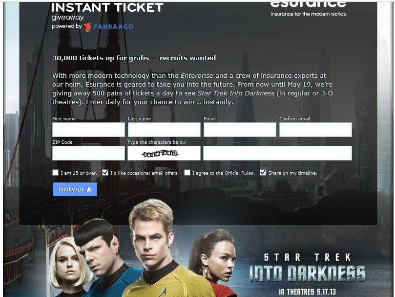 Esurance's Star Trek Into Darkness Instant Ticket Sweepstakes
