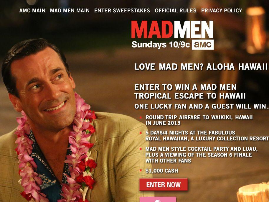 Mad Men Hawaii Sweepstakes