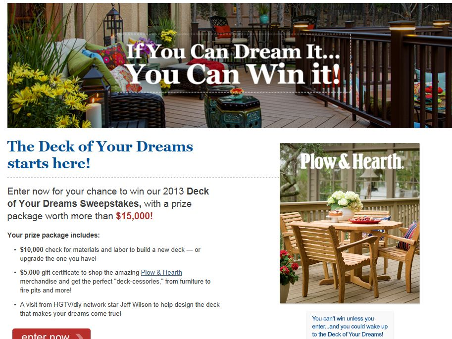 Thompson's Company 2013 Deck of Your Dreams Sweepstakes