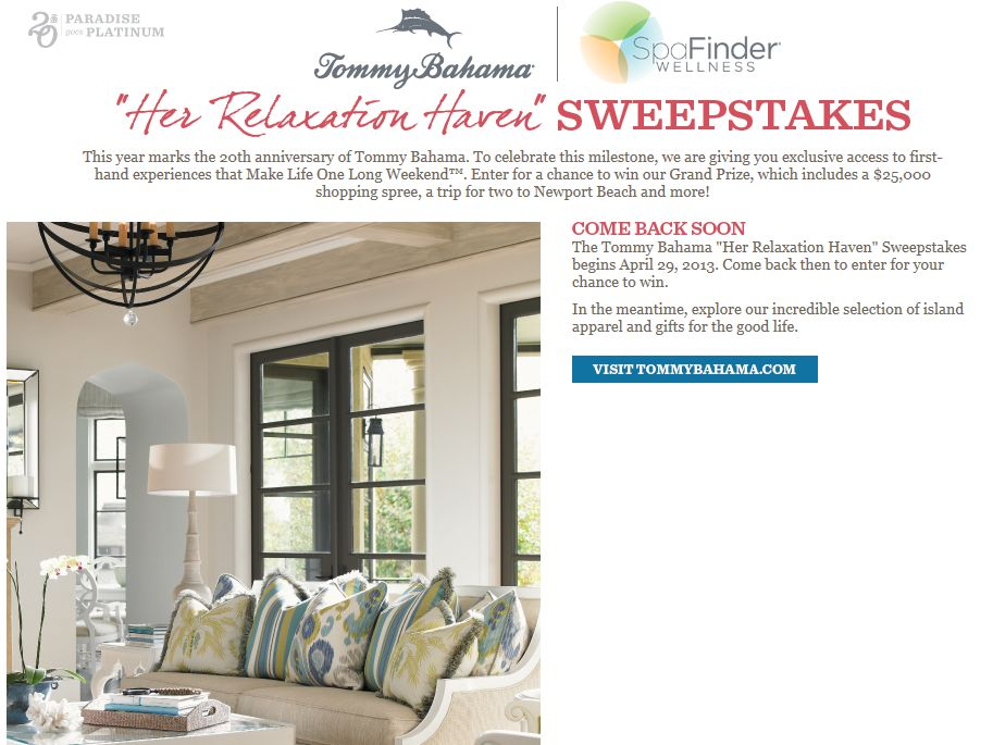 """Tommy Bahama """"Her Relaxation Haven"""" Sweepstakes"""