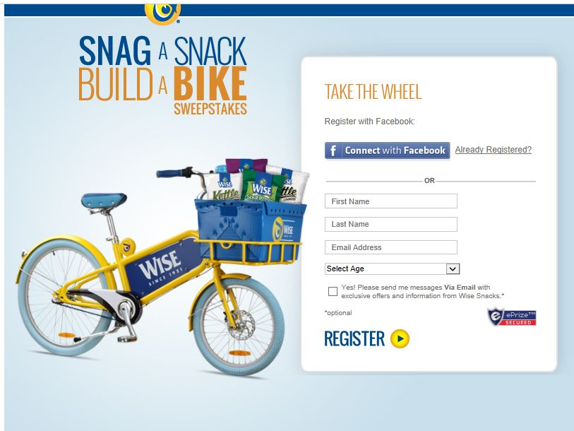 Wise Snacks: Snag a Snack, Build a Bike Sweepstakes