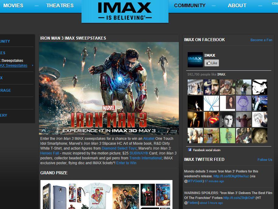 Iron Man 3 IMAX Sweepstakes