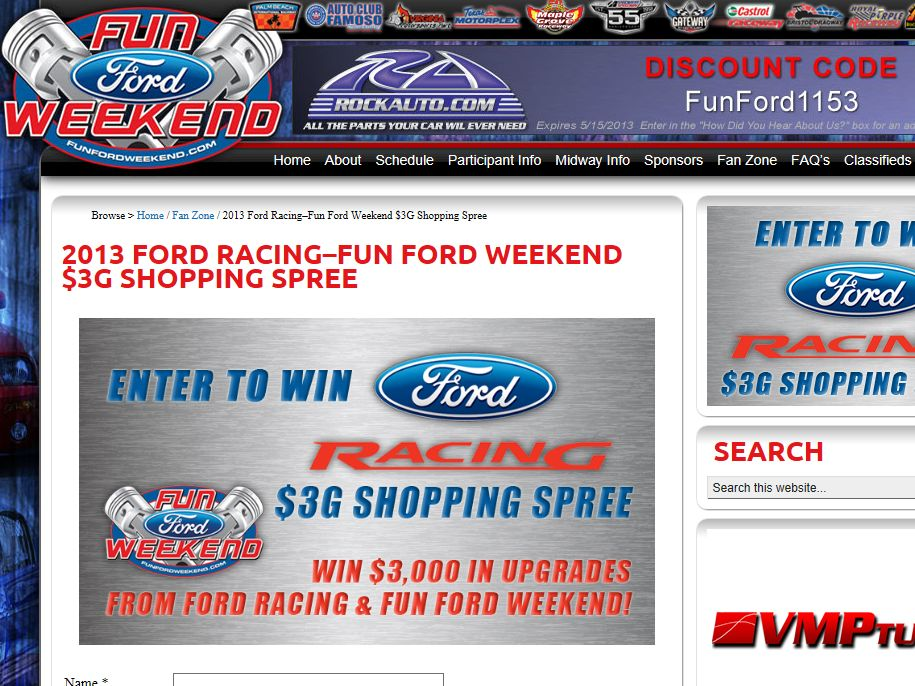 2013 Ford Racing–Fun Ford Weekend $3G Shopping Spree Sweepstakes