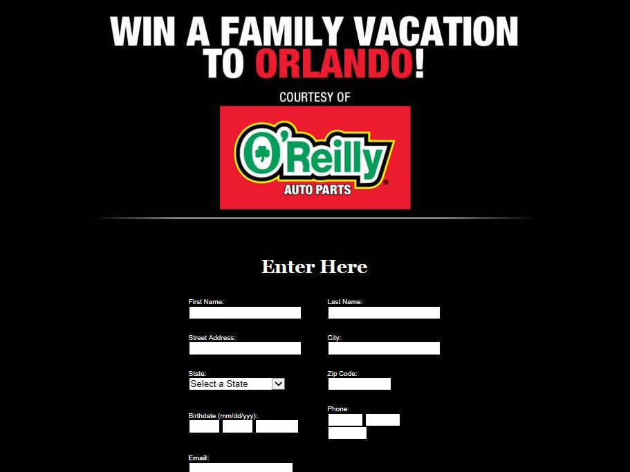 O'Reilly Auto Parts Orlando Family Vacation Sweepstakes