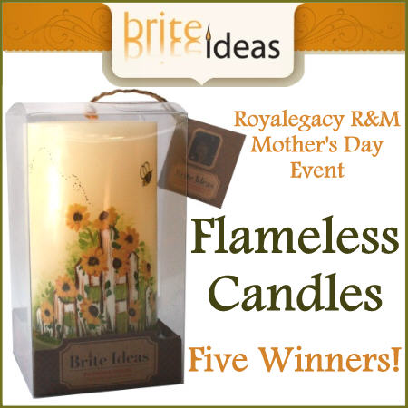 Royalegacy Reviews & More – Brite Ideas Flameless Candles FIVE Winner Giveaway