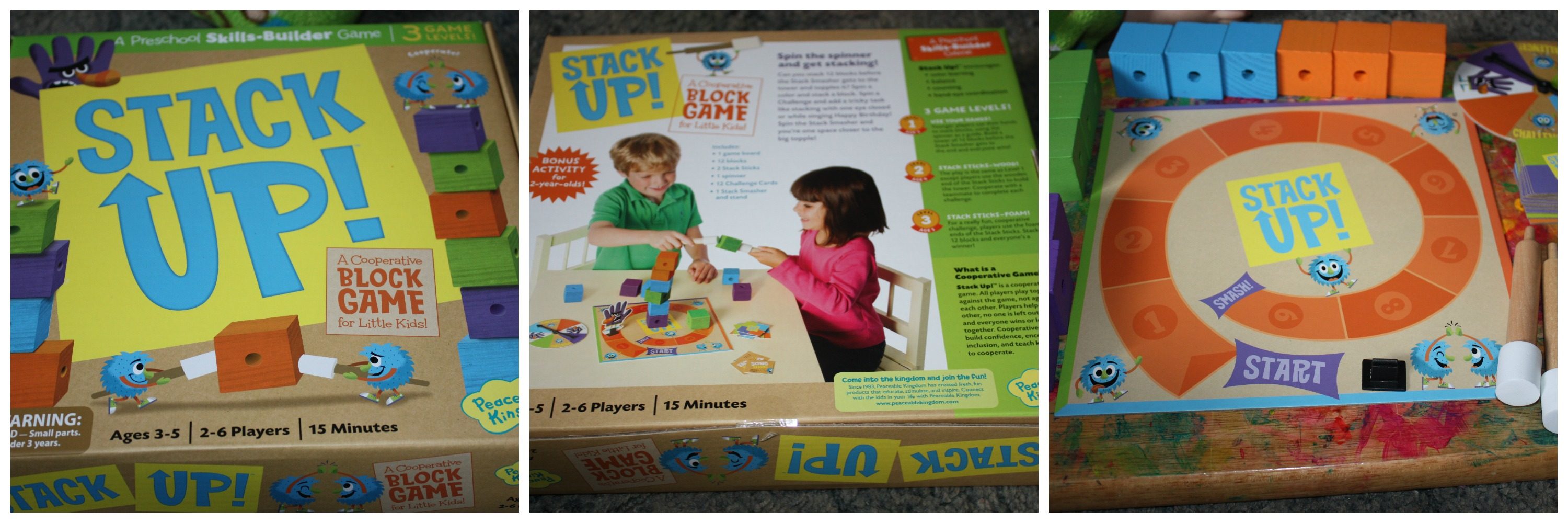 Stack Up, a cooperative game for preschoolers