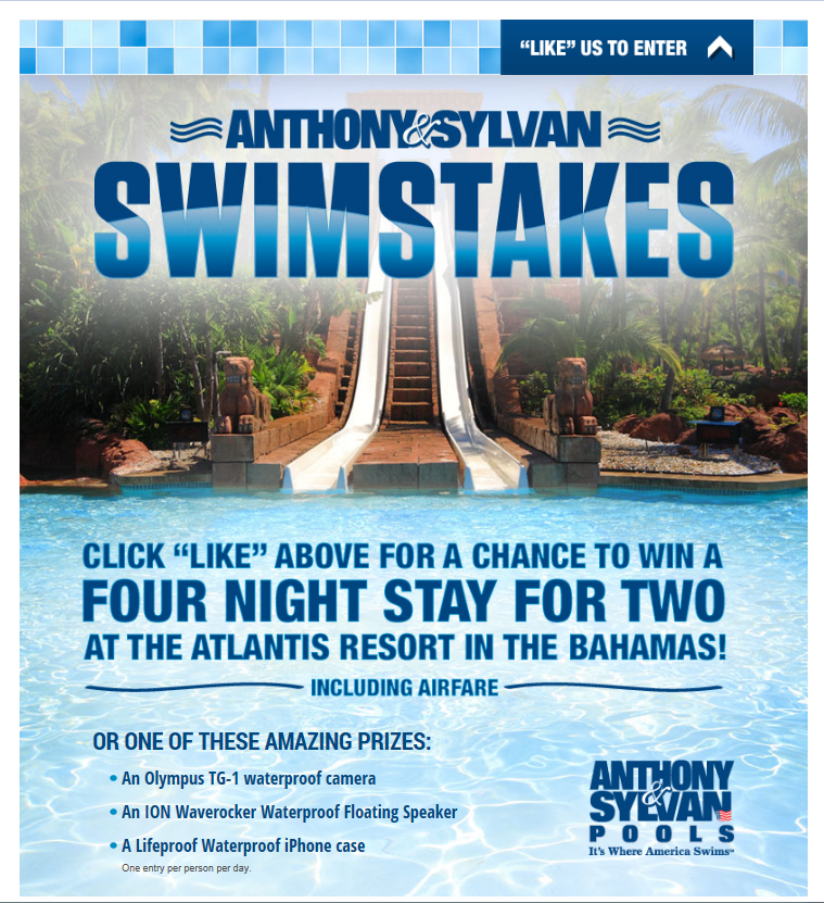 Anthony and Sylvan Pools 'Swimstakes'