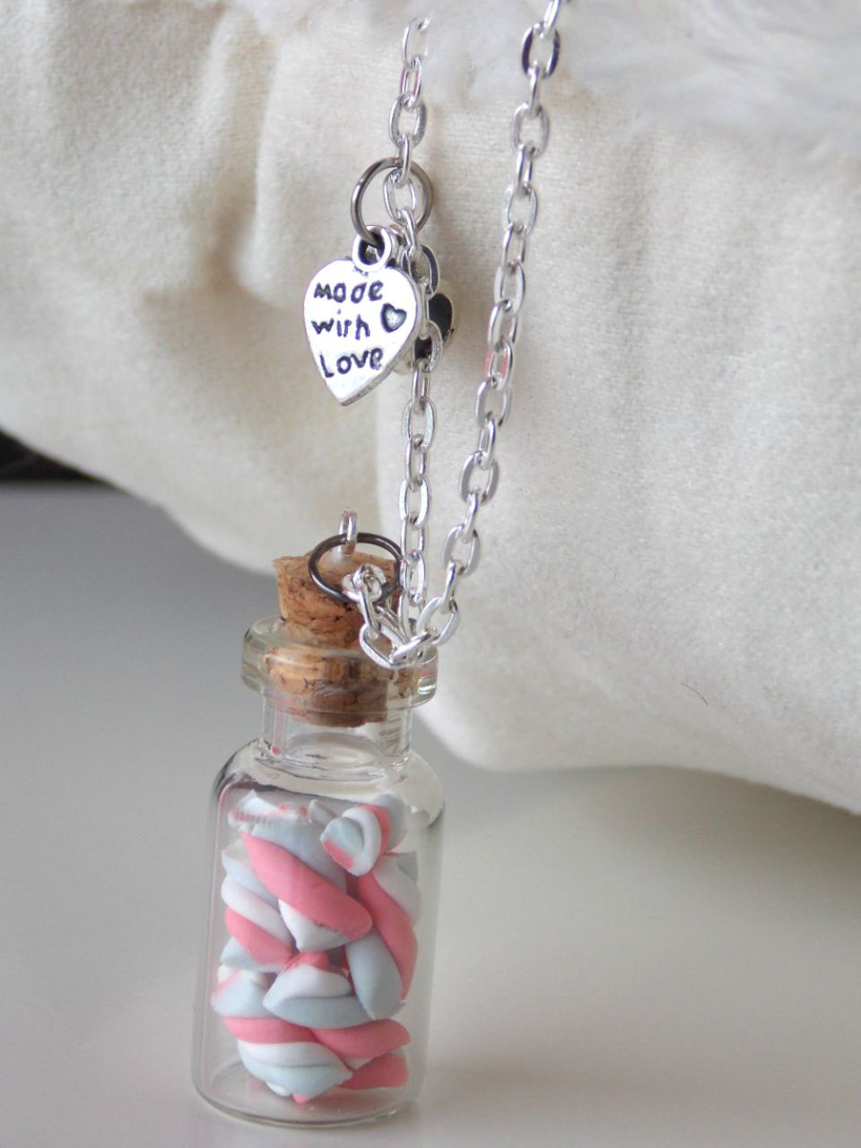 Yummy Bottle Marcshmallow Necklace- HANDMADE