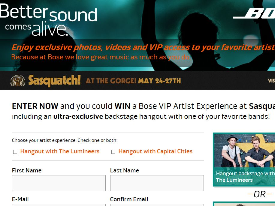 Sasquatch! Bose VIP Experience Sweepstakes