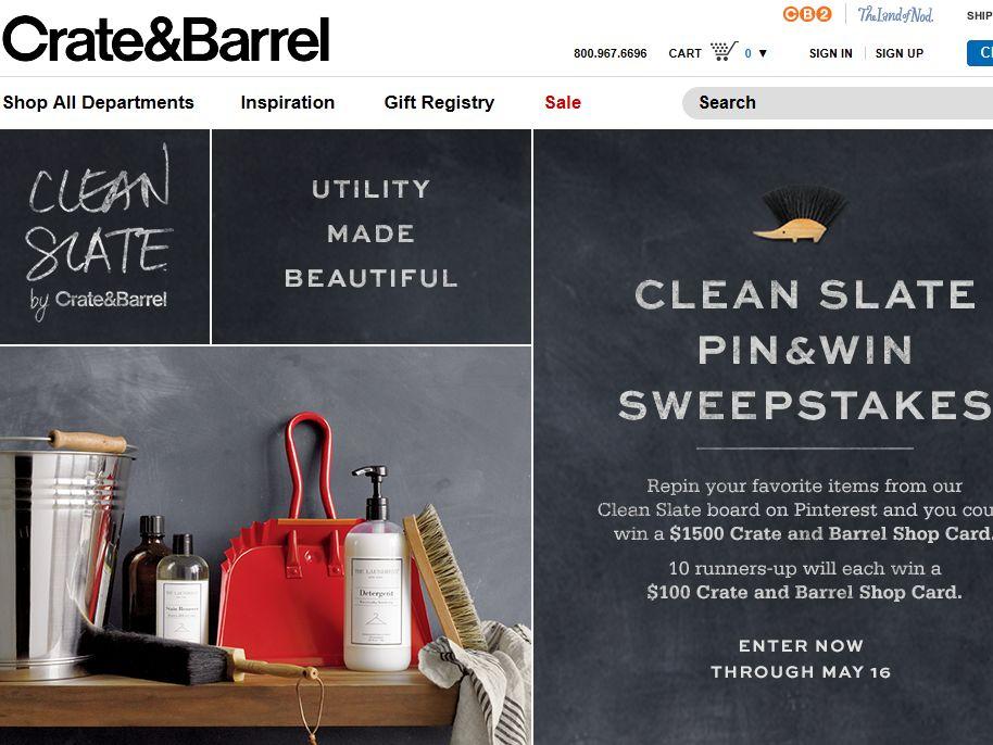 Crate & Barrel Pin & Win Sweepstakes