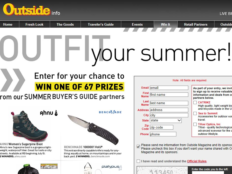 Outside Magazine Summer Buyer's Guide Gear Giveaway