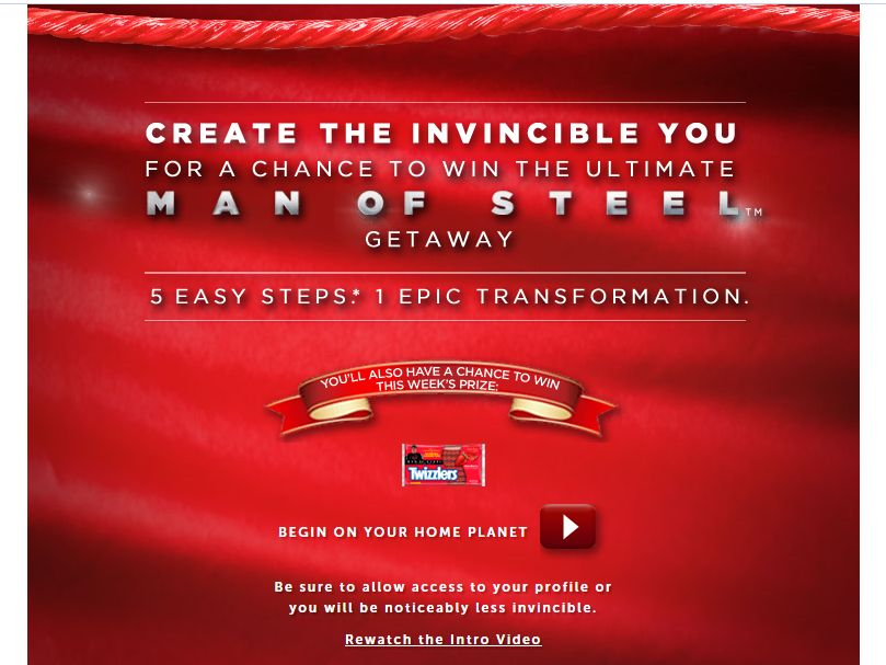Twizzlers The Ultimatef Man of Steel Getaway Sweepstakes