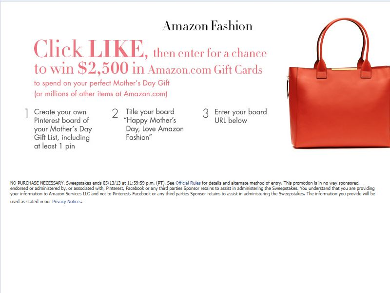 Amazon Fashion Mother's Day Pinterest Sweepstakes