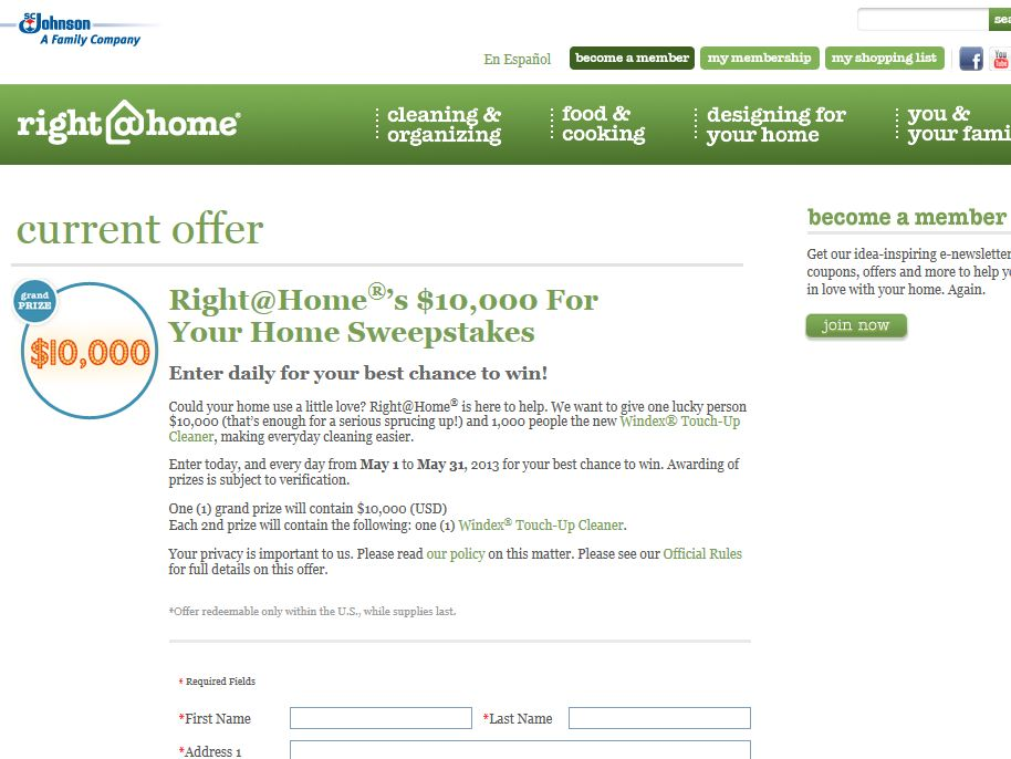 Right @Home's $10,000 for Your Home Sweepstakes