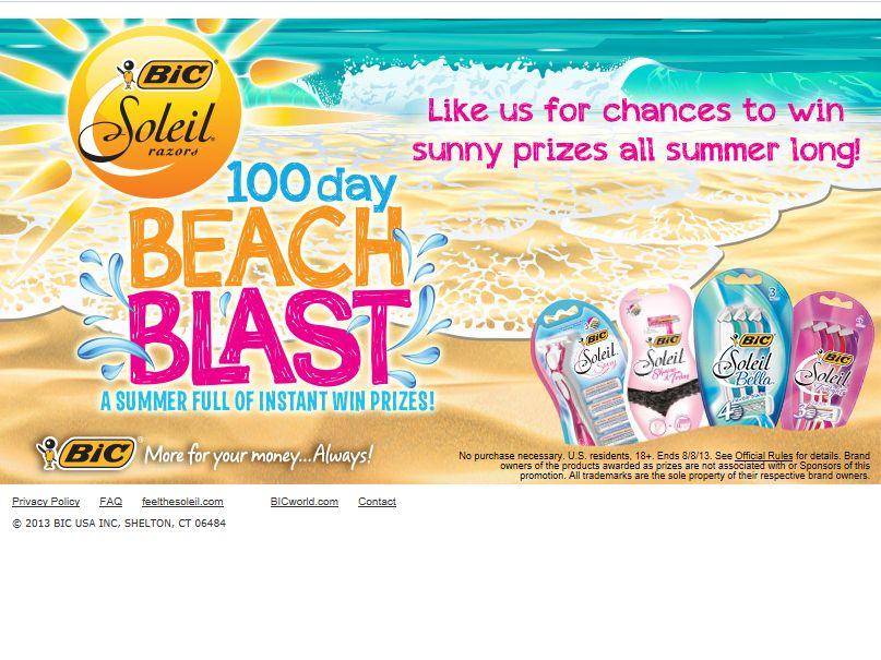 Bic Soleil 100 Day Beach Blast Promotion