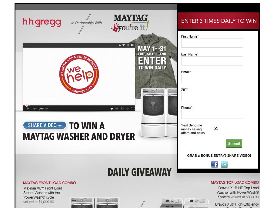h.h. gregg Maytag You're It Sweepstakes