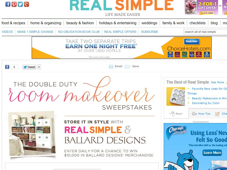 Real Simple Double Duty Room Makeover Sweepstakes