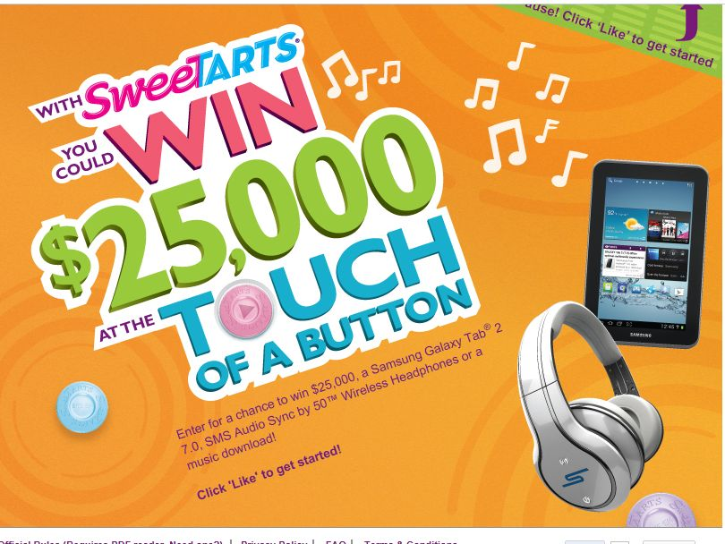 SweeTARTS Touch of a Button Sweepstakes