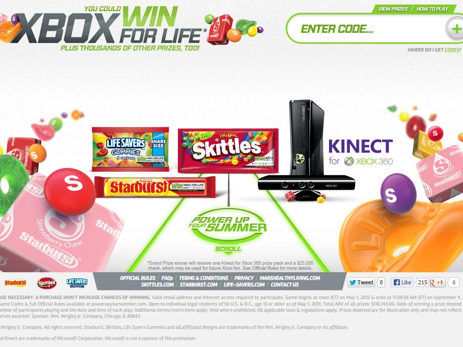 "Wm. Wrigley Jr. Company ""Xbox For Life"" Online Instant Win Game"
