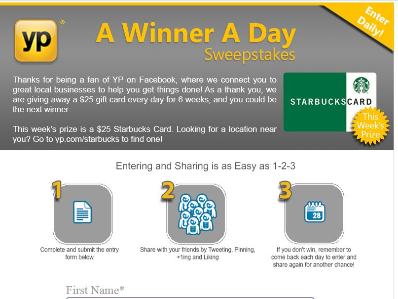 Yellow Pages A Winner A Day Sweepstakes