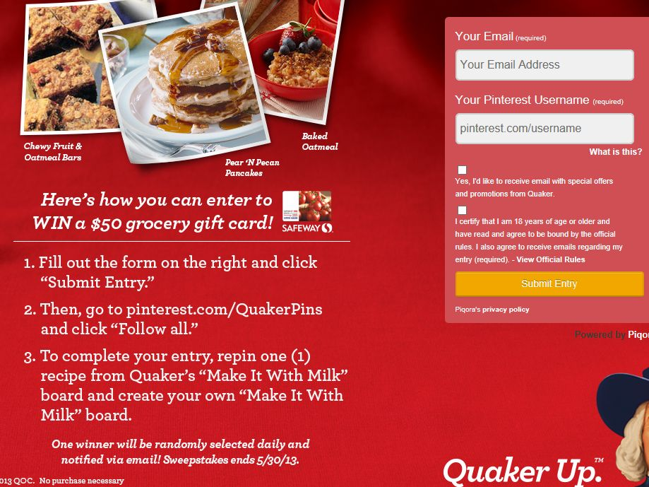 Quaker Make it with Milk Sweepstakes