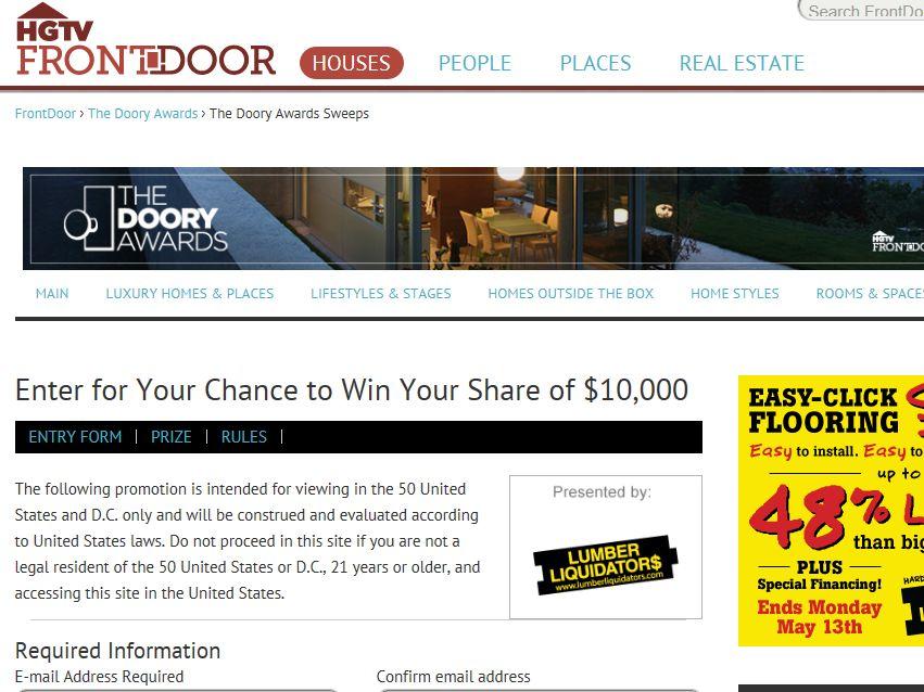 Frontdoor.com's the Doory Awards Audience Vote Sweepstakes