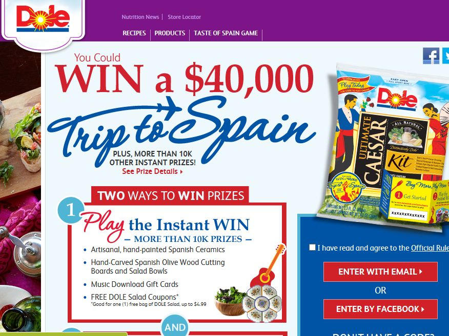 "DOLE ""Taste of Spain"" Getaway Game"