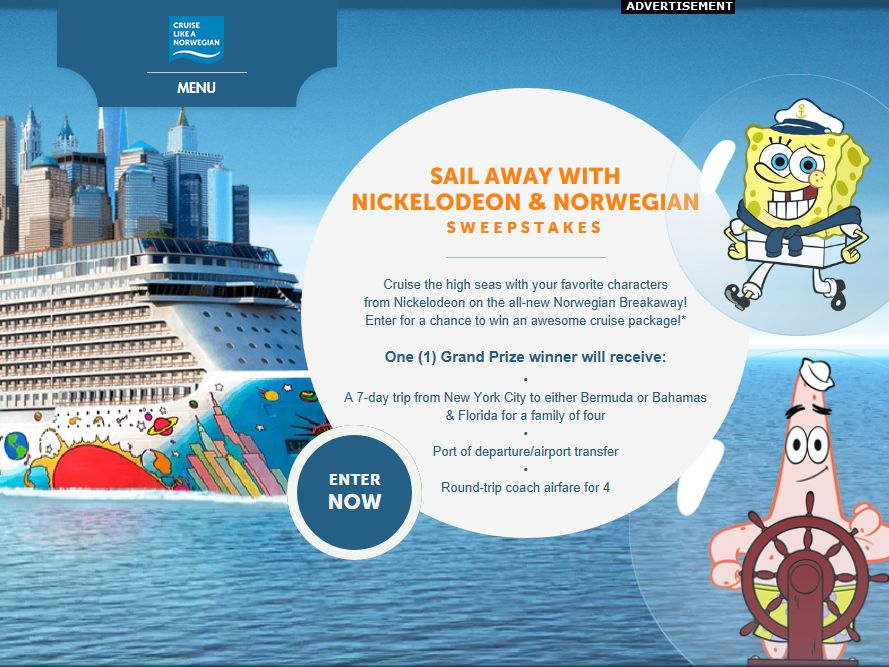 Sail Away With Nickelodeon And Norwegian Sweepstakes