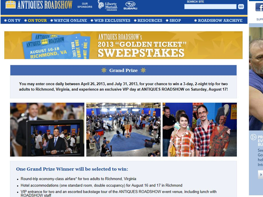 2013 Antiques Roadshow Sweepstakes