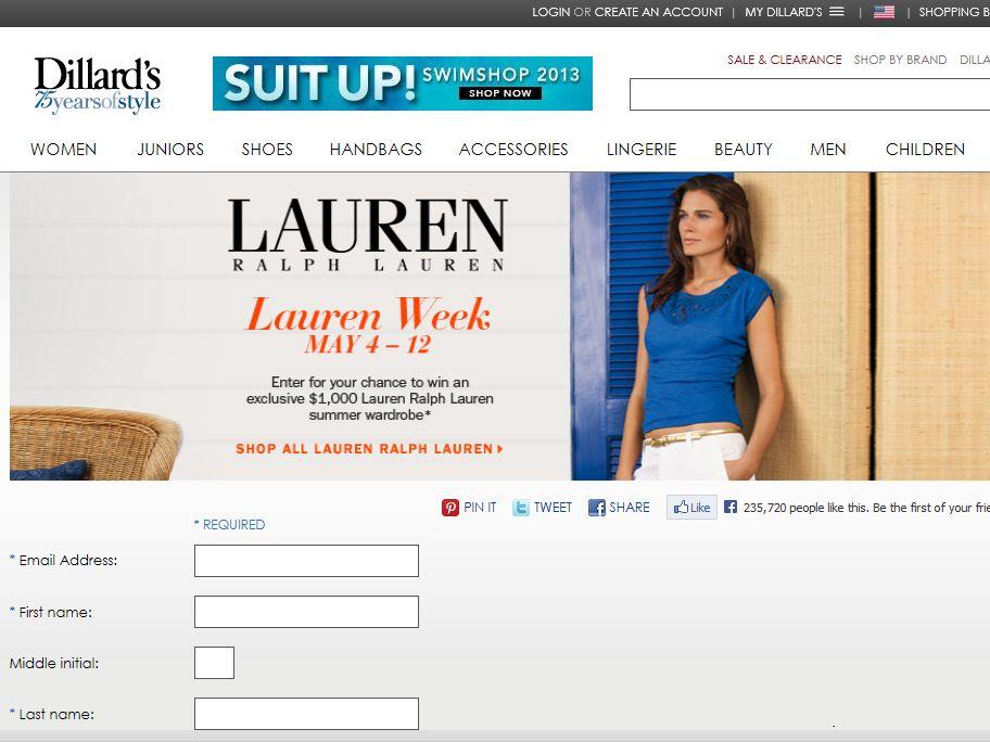 Dillards.com Lauren Week Online Sweepstakes