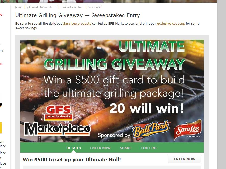 Gordon Food Services Ultimate Grill Giveaway Sweepstakes