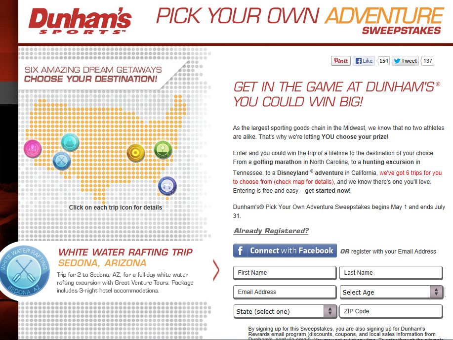 Dunham's Pick Your Own Adventure Sweepstakes