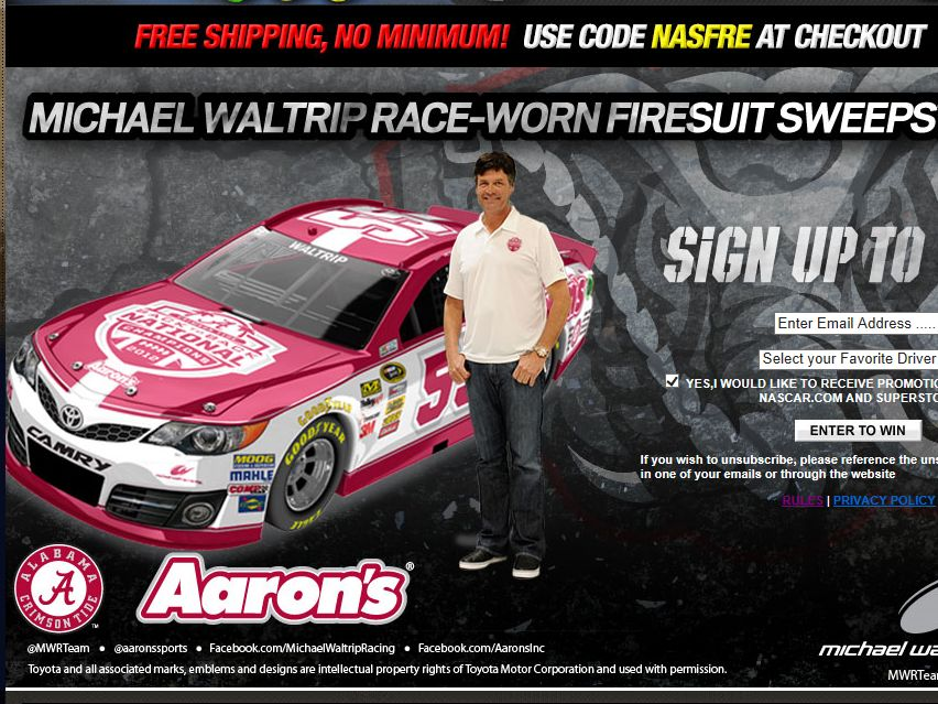 Official NASCAR Michael Waltrip Race-Worn Firesuit Sweepstakes