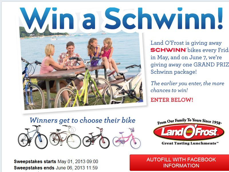 Land O'Frost, Inc. Win a Schwinn Sweepstakes