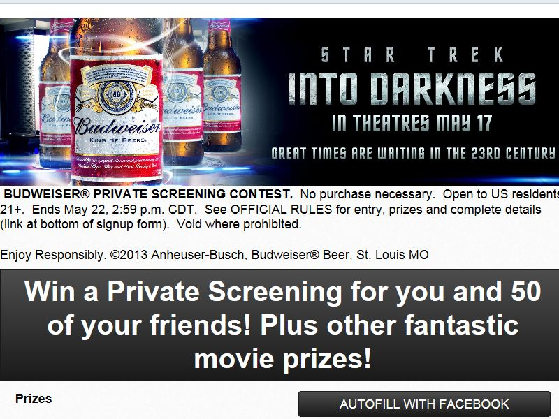 Budweiser Private Screening Contest