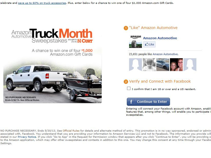 Amazon.com Truck Month Sweepstakes
