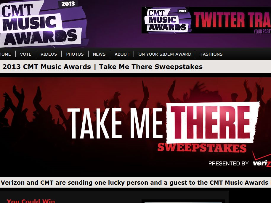 CMT Take Me There Sweepstakes