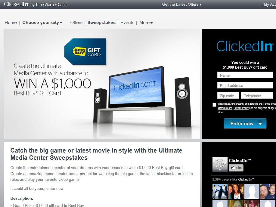 ClickedIn $1K Best Buy Sweepstakes