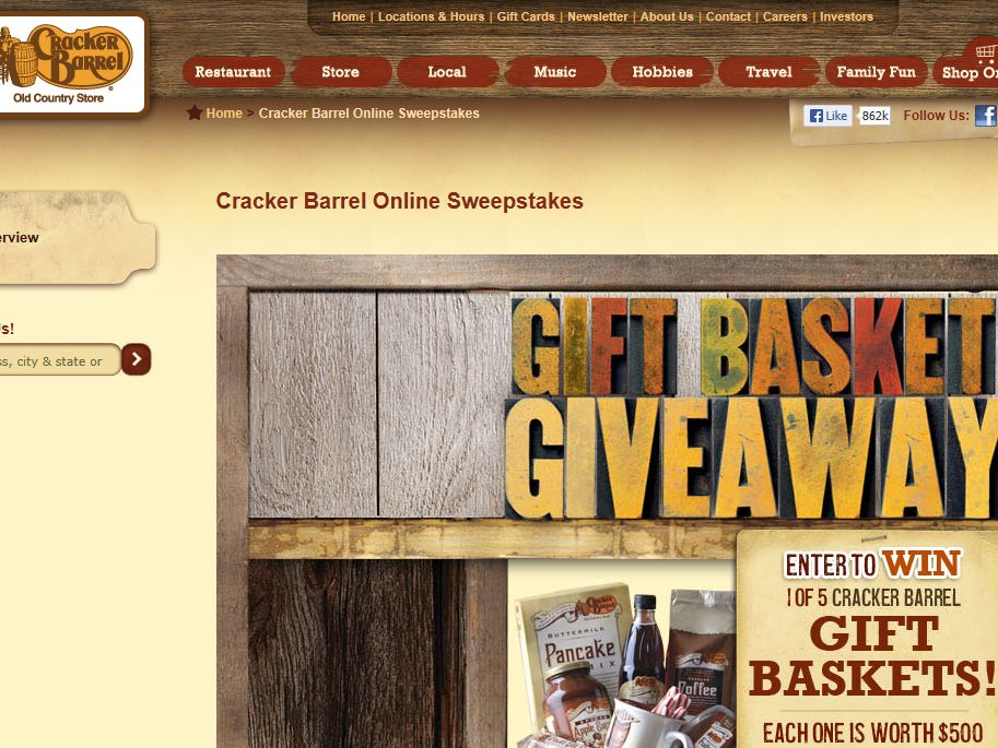 Cracker Barrel Old Country Store, Inc. Gift Basket Giveaway Sweepstakes