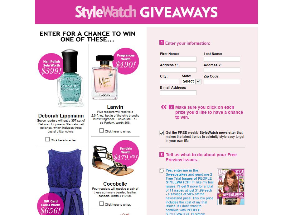June StyleWatch Giveaways Sweepstakes