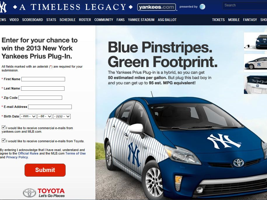 Yankees.com Prius Plug in Sweepstakes