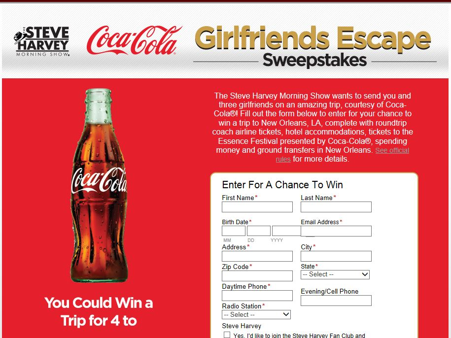 Steve Harvey Morning Show's Coca-Cola Girlfriends Escape Sweepstakes